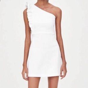 NWT Zara One Shoulder White Dress Large